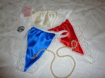 World cup 2010 pure silk G String thongs by Francois de Loire Red White Blue