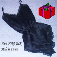Black silk camiknicker by Francois de Loire