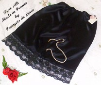 Black silk half slip